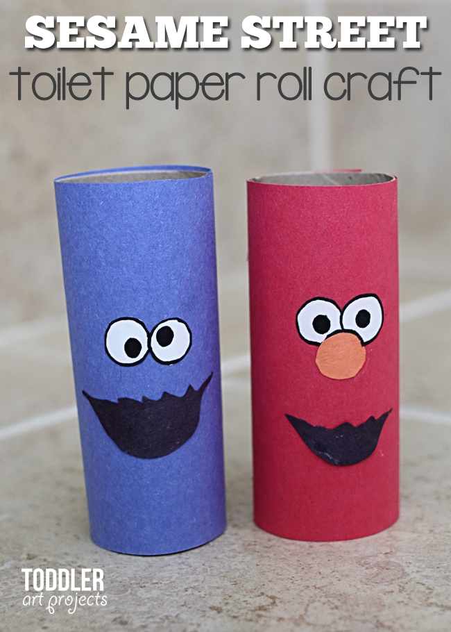 Elmo and cookie monster from a toilet paper roll love for Elmo arts and crafts