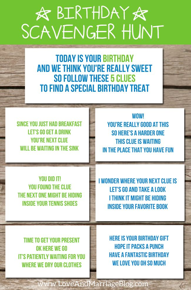 Birthday Scavenger Hunt {with free printables!}