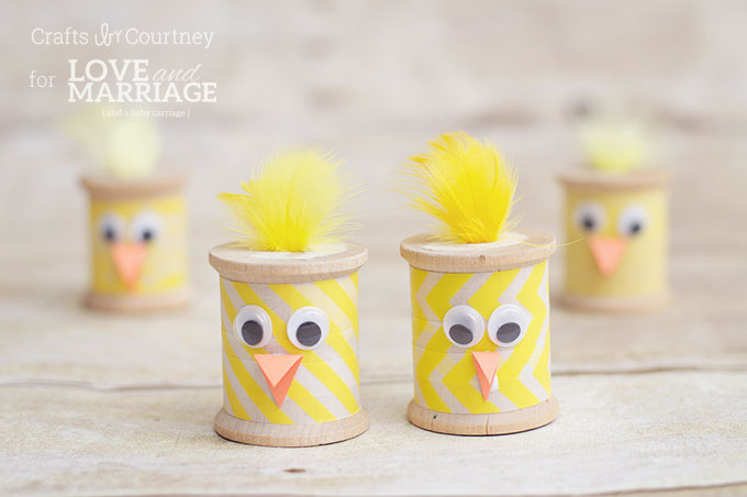 Easter Chick Craft from Thread Spools