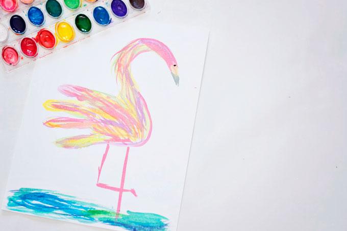 Watercolor Handprint Flamingo Craft